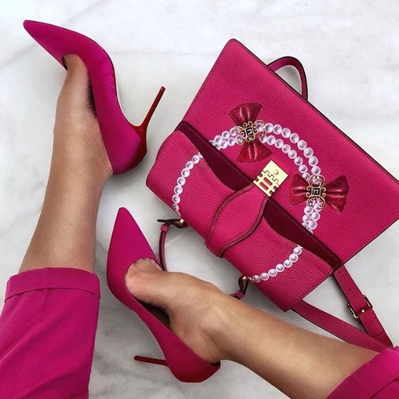 090c99f03bd ZARA Fuschia Pumps with Contrasting Red Heels NWT